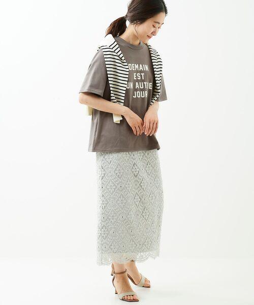 [le.coeur blanc] ロゴプリントTシャツ