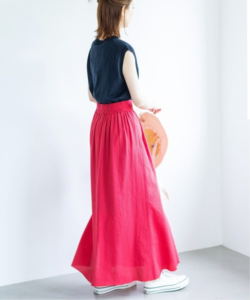 [IENA] サッカーギンガムデザインスカート◆