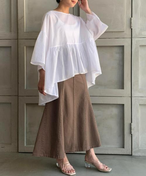 【moment+】カラーヘビーツイル&デニムマーメイドスカート