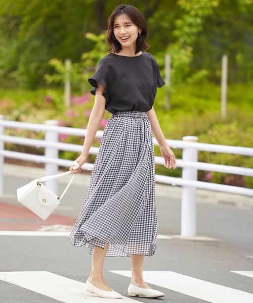[any FAM] 【優木まおみ着用】ギンガムシアー チェック スカート