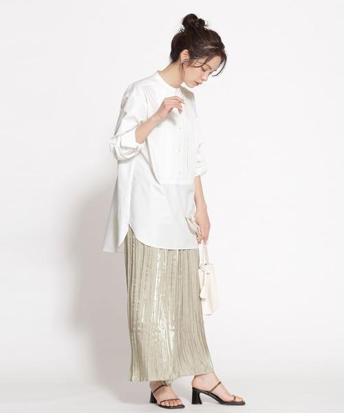 [nano・universe] WEB限定/ピンタックドレスシャツ 長袖