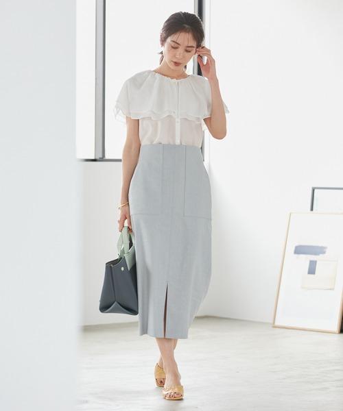 [ROPE'] 【洗える】スラブストレッチハイウエストタイトスカート