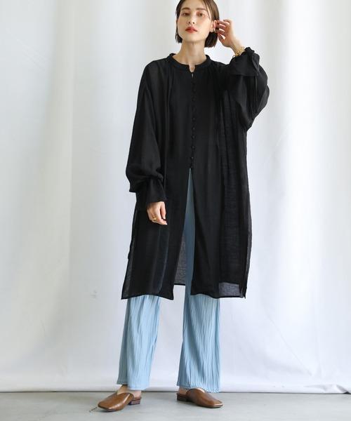 [select MOCA] 2021 SS 楊柳バンドカラーキャンディースリーブシフォンチュニックシャツ4
