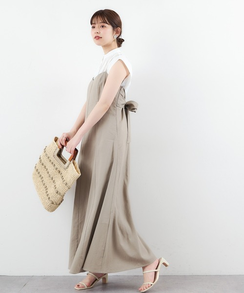 【natural couture】リネン混バックリボン大人ワンピース
