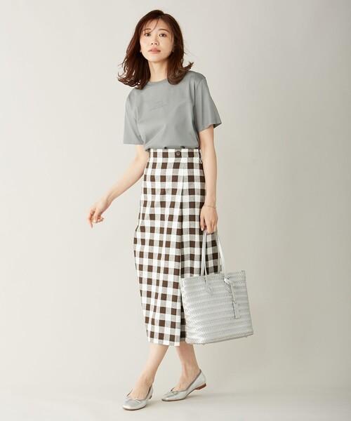 [L size ONWARD(大きいサイズ)] 【洗える】BEZコットンリネンブロックギンガム スカート