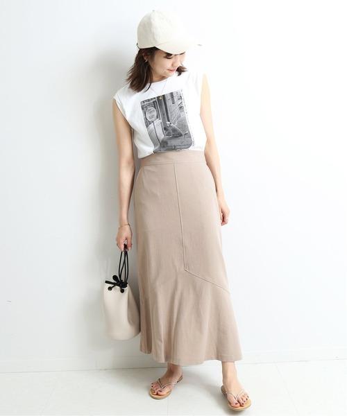 リネン混 裾フレアスカート【手洗い可能】◆