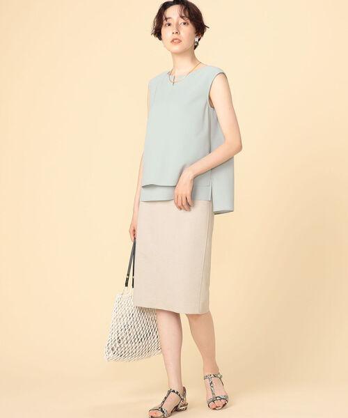 [NOLLEY'S] リネンライクジャージタイトスカート