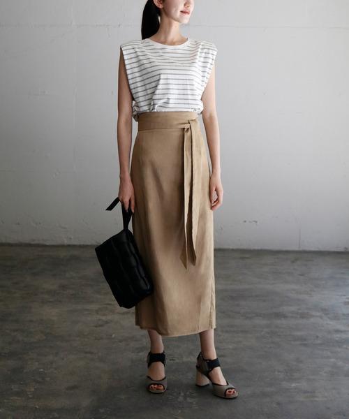 【GIRL】リネンハイウエストロングタイトスカート