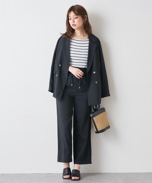 [natural couture] さらっと着れるリネンライクジャケット