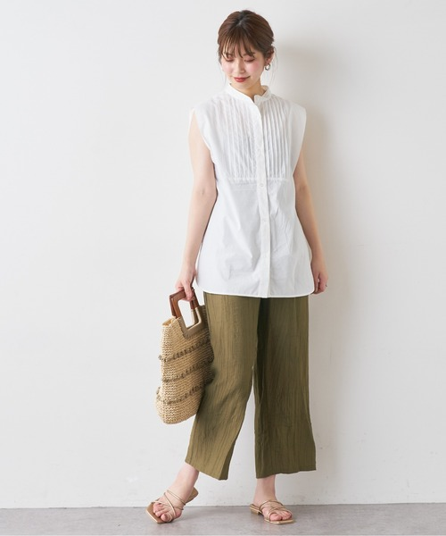 [natural couture] シワ加工リラックスパンツ