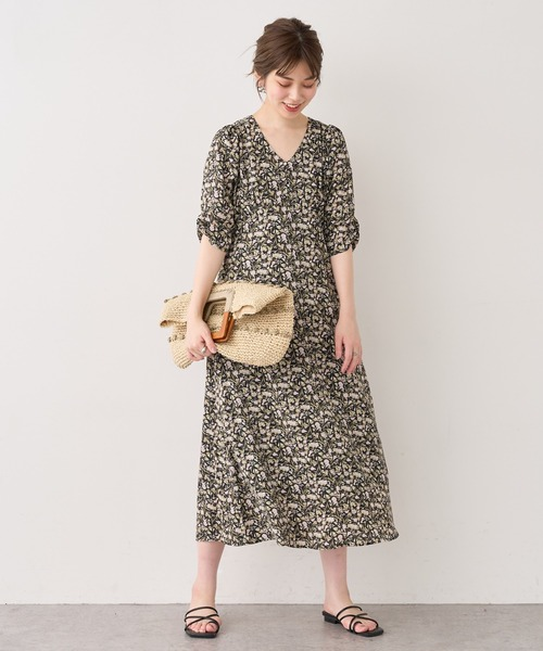 [natural couture] 【WEB限定】バックレースアップ花柄ワンピース