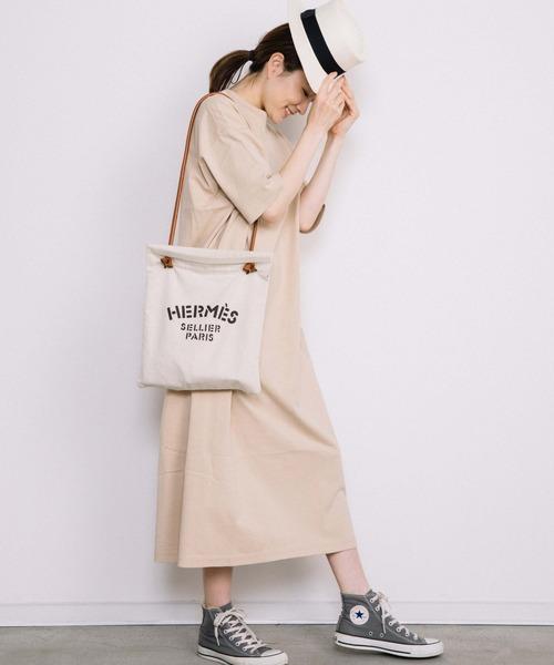[Chaco closet] サイドポケット付き半袖ロングマキシ丈ワンピース