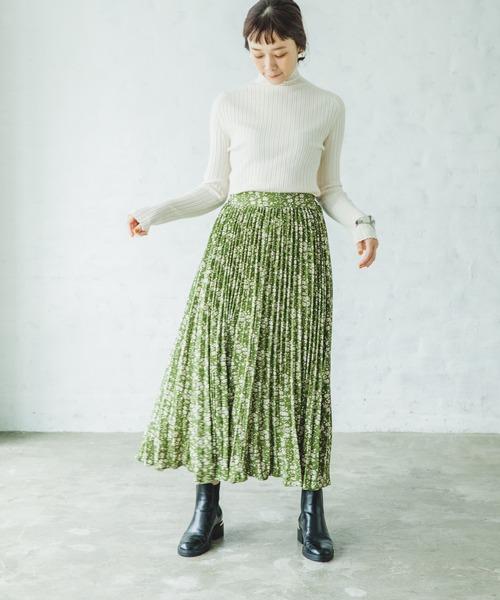 [pairmanon] 【ママサイズ】 アコーディオンプリーツロング総柄スカート