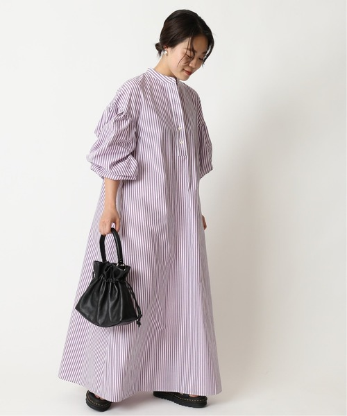 [Spick & Span] ギャザースリーブ ストライプシャツドレス