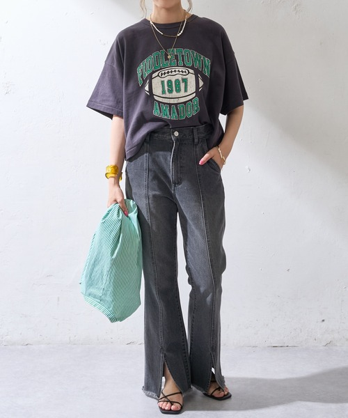[Discoat] フットボールプリントTシャツ4