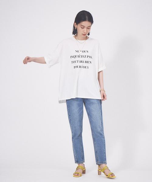 [Abahouse Devinette] 【EC先行販売】ワイド5分袖ロゴTシャツ