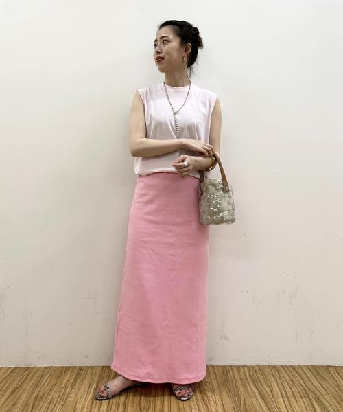[SHENERY] 【WEB限定カラー:ピンク】リブロングスカート