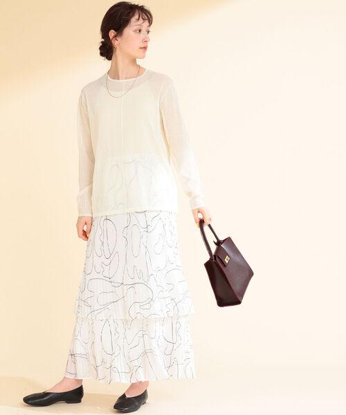 [BEAMS WOMEN] Ray BEAMS / ライン プリント プリーツ スカート