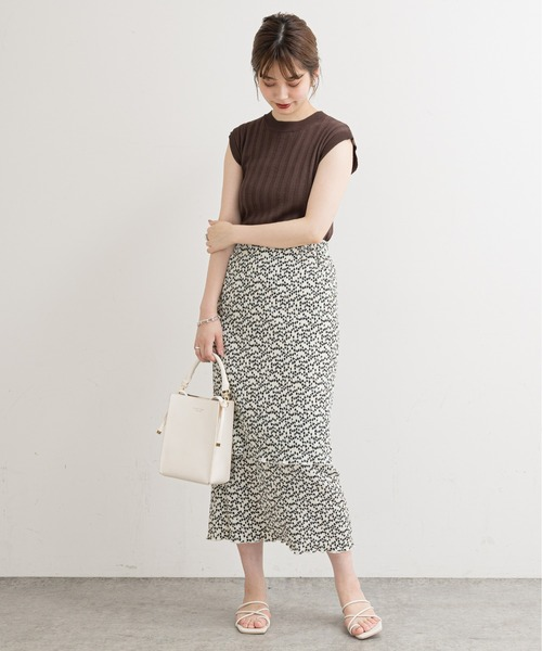 [natural couture] 【WEB限定】クリンクル加工ティアードナロースカート