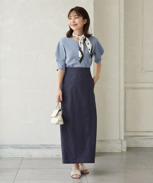 [kobelettuce] [選べる2丈]ストレッチリネンストレートタイトスカート