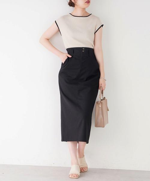 [natural couture] ストレッチリネンベルト付タイトスカート