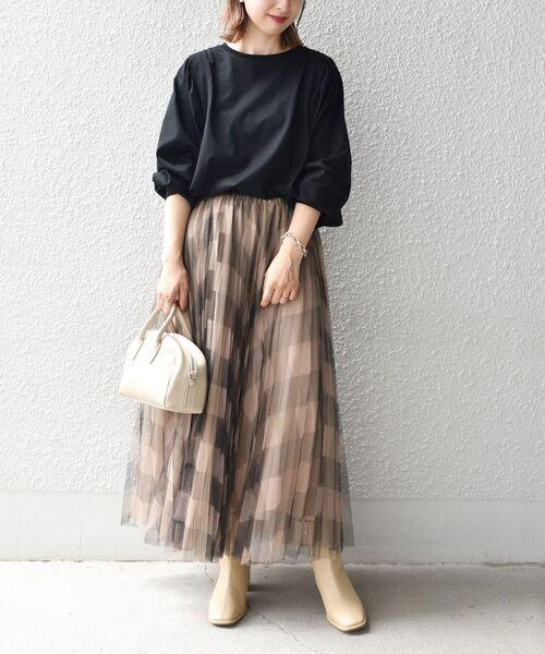 [SHIPS for women] 【WEB限定】チュールチェックプリーツスカート◆