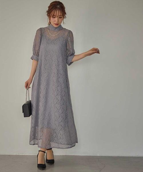 [Dorry Doll/ Luxe brille] インナー付きバックリボンレースドレス
