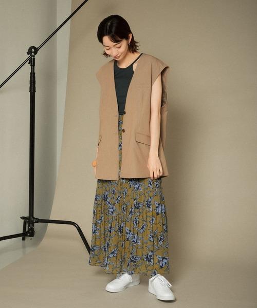 [KBF] 【WEB限定】フラワープリントプリーツスカート