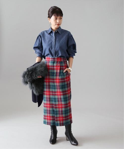 [IENA] BONOTTO old check ノットスカート◆