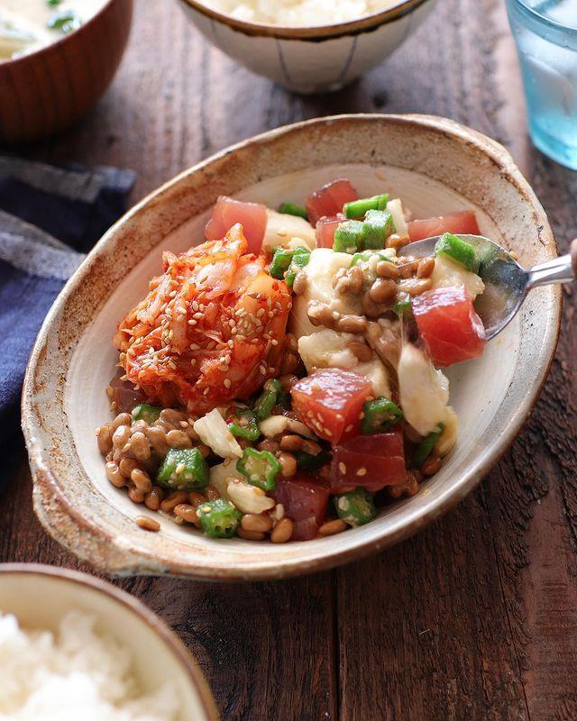 大人に人気まぐろとたたき長芋のキムチ納豆