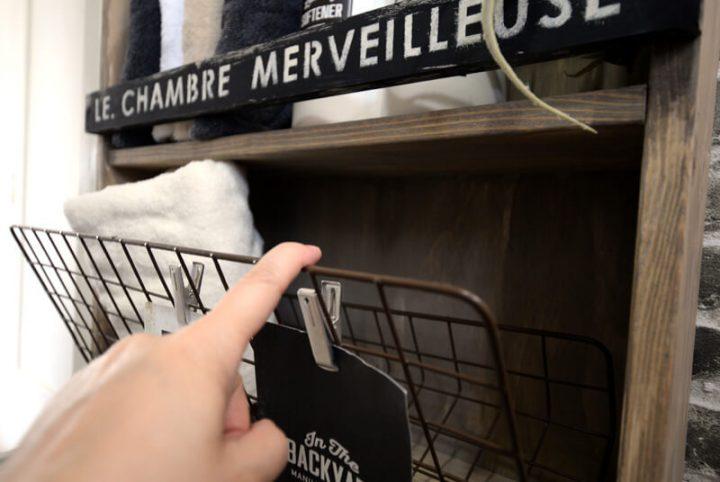 狭い洗面所にオススメ!セリアのネットを使った便利なスリム収納棚2