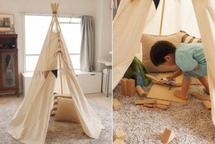 子供も喜ぶ室内テント!木と布でティピーを作ろう2