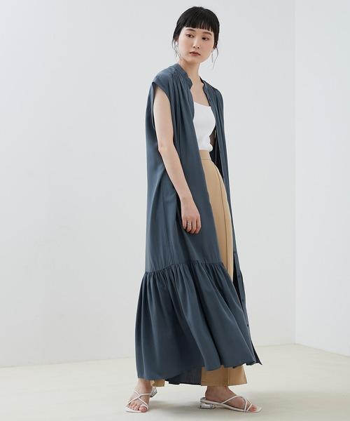 [EMMA CLOTHES] 【EMMA】とろみノースリーブ裾切り替えティアードシャツワンピース