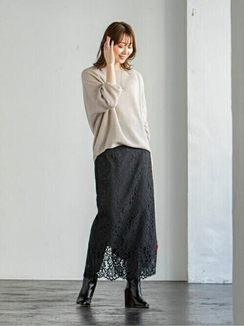 [Spick & Span] リバーレースIラインスカート◆