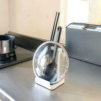調理中のちょい置きに便利!お玉&鍋ふたスタンドタワー