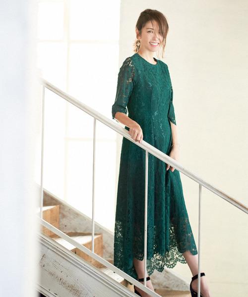 [GIRL] 総レース七分袖イレヘムロング結婚式ワンピースドレス