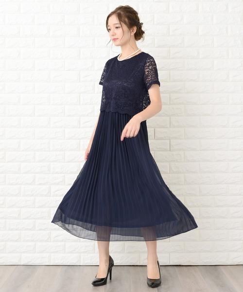 [Lace Ladies] セットアップ風レース半袖×プリーツロングスカート フォーマルワンピース・ドレス
