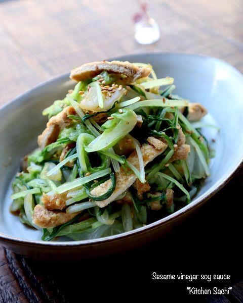 油揚げで♪水菜と白菜のごま酢醤油和えレシピ