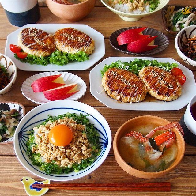そぼろ丼&豆腐ハンバーグ