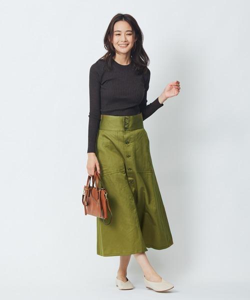 [Abahouse Devinette] コットンラミーボタンフロントスカート