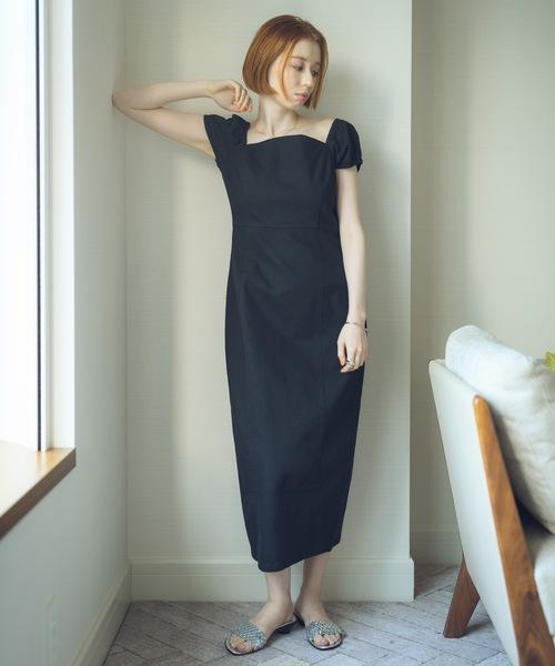 【YARD PLUS/AUNT MARIE'S】デニムタイトロングワンピース