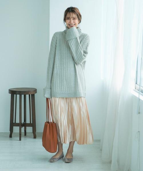 [210nouve] サテンロングプリーツスカート