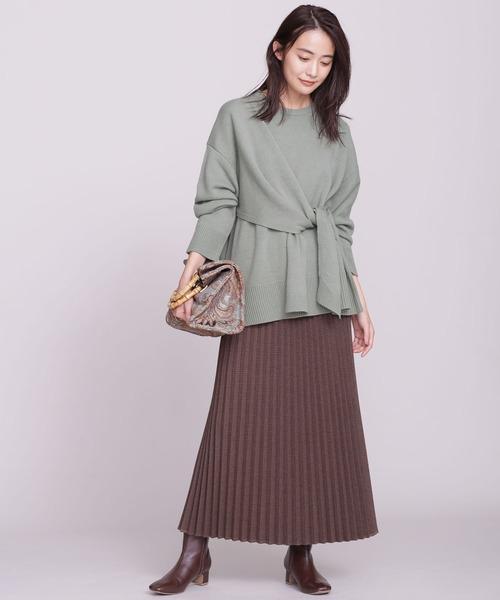カシュクール風リボンニット×プリーツスカート