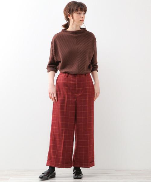 [MELROSE claire] TRピンチェック裾ダブルワイドクロップドパンツ