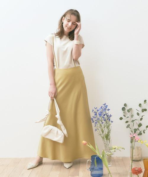 【titivate】ストラップ付きサテンナロースカート