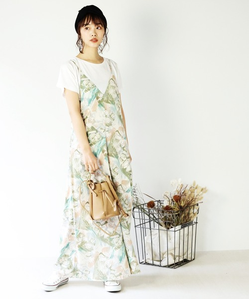 花柄サロペット・オールインワン