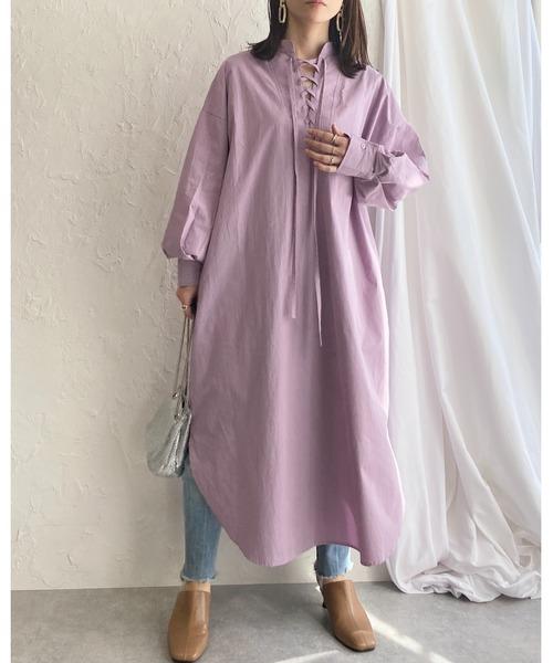 [wears] スタンドカラー編み上げレースアップ長袖ロングシャツワンピース