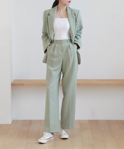 春の新商品カラーセットアップジャケット+パンツセット