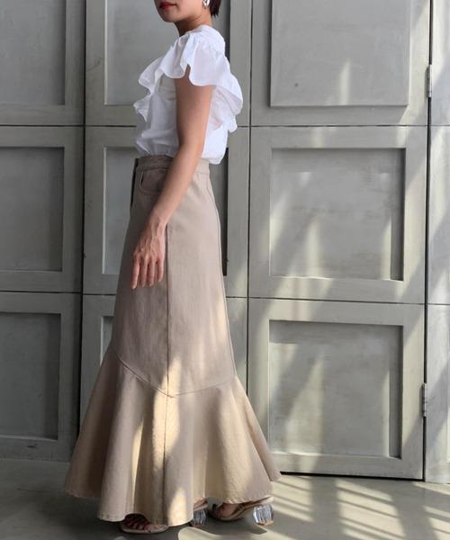 【moment+】フリルマーメイドロングスカート