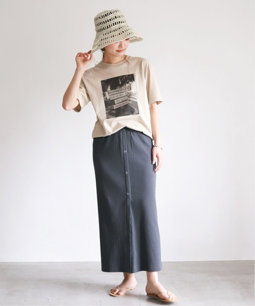 [IENA] プリーツリブタイトスカート【手洗い可能/ウエストゴム】◆